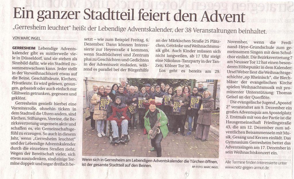 Lebendiger-Adventskalender_Rheinische Post 02.11.2019